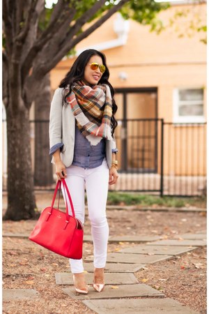 orange plaid Zara scarf - white rag & bone jeans