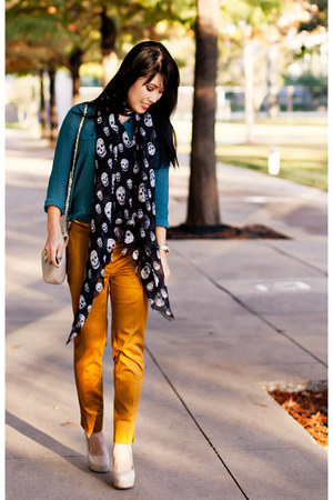 mustard H&amp;M pants - teal silk Urban Outfitters shirt