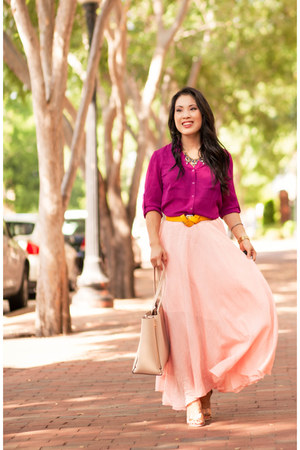 hot pink Express shirt - light pink tbdress skirt