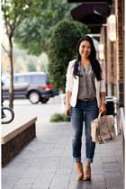 white H&M blazer - blue Gap jeans - black Joie top - gold ann taylor belt