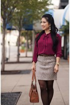 brick red Loft shirt - dark brown DKNY tights