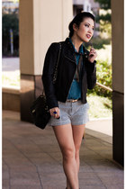 black moto Express jacket - black ankle booties Jessica Simpson shoes