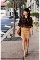 camel banana republic skirt - navy horse print Forever 21 shirt