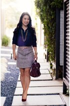 tan BB Dakota skirt - ruby red BP shoes - navy Loft shirt - brown Vieta purse