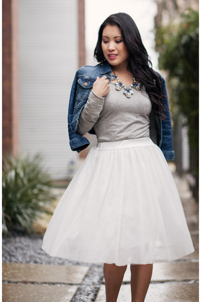white dresslily skirt - beige Via Spiga shoes - blue Forever 21 jacket