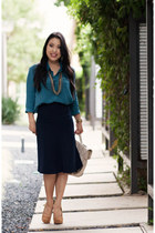 navy midi Front Row Shop skirt - mustard Bakers shoes