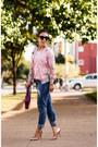 Blue-distressed-express-jeans-light-pink-bomber-oasap-jacket