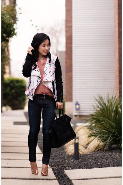 white floral moto Target jacket - navy rag & bone jeans