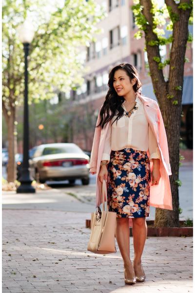 navy JCrew skirt - light pink trench Mart of China coat