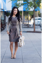 camel banana republic cardigan - light brown BCX dress - tan Michael Kors pumps