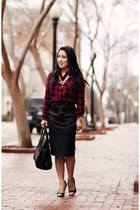 black Celine bag - ruby red buffalo plaid Forever 21 shirt - gold OASAP necklace