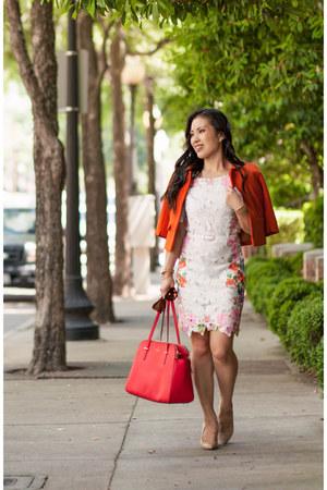 white floral Choies dress - carrot orange swing H&M jacket - red kate spade bag