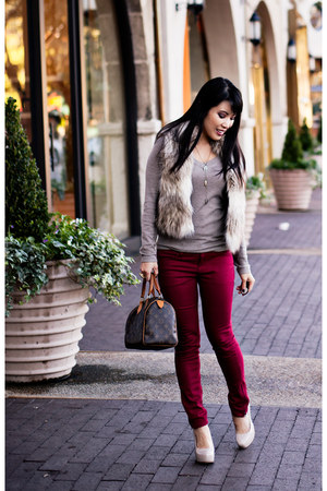 beige faux fur Loft vest - eggshell Marco Santi shoes - heather gray Gap sweater