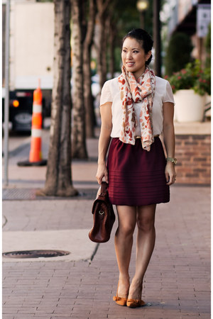 crimson Nordstrom skirt - white banana republic shirt - bubble gum H&M scarf