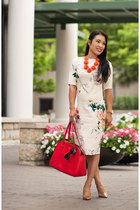 white floral Sheinside dress - red kate spade bag