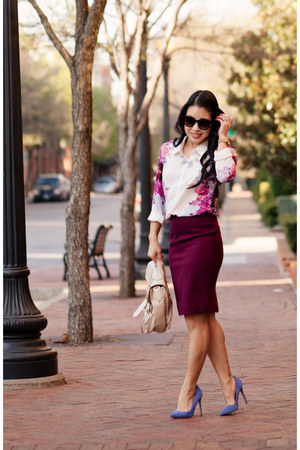 off white floral Sheinside shirt - blue shoemint shoes - crimson JCrew skirt