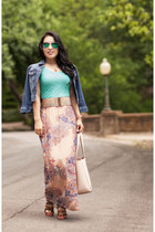 aquamarine maxi white plum dress - blue Forever 21 jacket