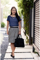 black Aldo shoes - blue polka dot Delias shirt - black Celine purse