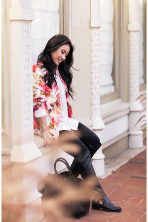 bubble gum floral OASAP blazer - black Vince Camuto boots