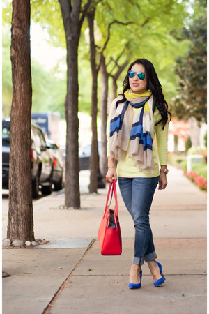 blue shoemint shoes - blue Gap jeans - light yellow Gap sweater