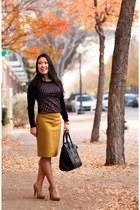 black studded Express sweater - mustard J Crew skirt - mustard Forever 21 heels
