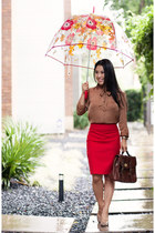 tan Loft shirt - brown Vieta purse - ruby red The Limited skirt
