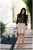 eggshell Forever 21 skirt - beige Via Spiga shoes - dark khaki Forever 21 shirt