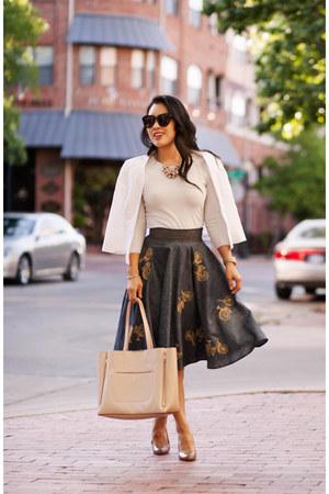 violet eShakti skirt - periwinkle banana republic sweater - white asos blazer