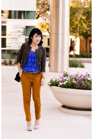 tweed Forever 21 jacket - ruffle Loft shirt - Chanel purse - Marco Santi pumps