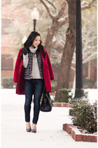 Red Coat + Striped Vest