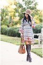 Burnt-orange-over-the-knee-michael-kors-boots-white-floral-chicwish-dress
