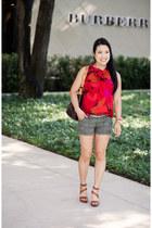 Loft shirt - galliera Louis Vuitton purse - military American Rag shorts
