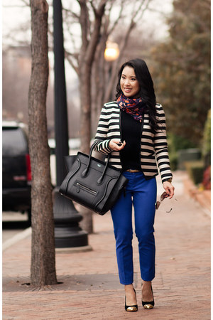 blue banana republic pants - black Gap sweater - white striped ann taylor blazer