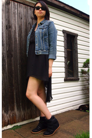 black cotton Forever 21 dress - navy denim chiqle jacket