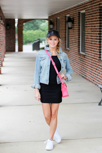 hot pink Angela Roi bag - black Topshop dress - black BP hat