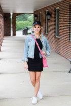 hot pink Angela Roi bag - black Topshop dress - black BP hat