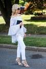 White-kind-of-jeans-navy-chanel-bag-tan-steve-madden-heels
