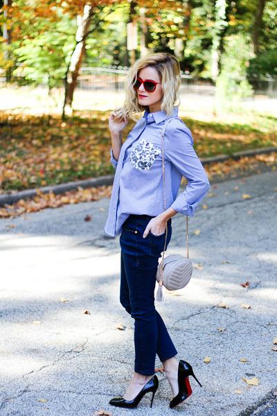 light blue thakoon blouse - navy Jag Jeans jeans - camel Prima Donna bag