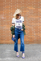 blue asos jeans - army green Sheinside jacket - blue Vince Camuto bag