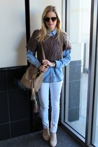 white Kiind Of jeans - camel see by chloé bag - brown ray-ban sunglasses
