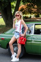 white lemon pop top - red 31 Phillip Lim bag - blue somedays lovin shorts