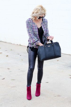 black Make Me Chic blazer - crimson Charlotte Russe boots - black kate spade bag