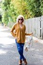 Dark-brown-nordstrom-boots-blue-sheinside-jeans-mustard-forever-21-sweater