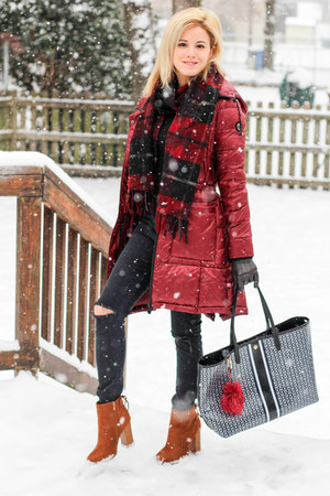 ruby red Bernardo jacket - tawny Beast Fashion boots - ruby red lanvin scarf
