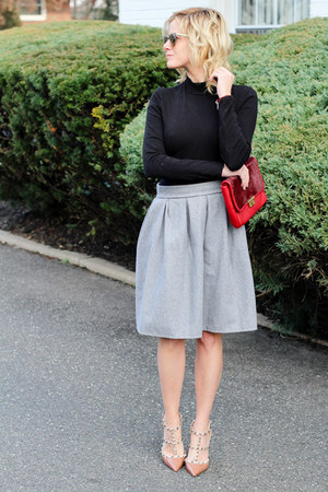 heather gray Sheinside skirt - ruby red Fossil bag - neutral Valentino heels