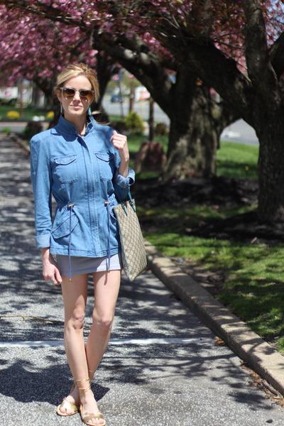 blue coffee shop coats coat - blue Gucci bag - sunglasses - sunglasses