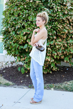 white Vintage Havana top - sky blue Paper Denim jeans
