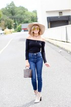 dark brown ettika necklace - tan calvin klein boots - navy Sheinside jeans