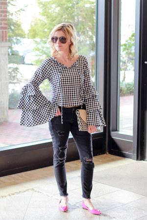 black Make Me Chic top - black Silver Jeans jeans - hot pink Jimmy Choo flats