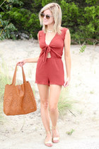 brick red Forever 21 romper - bronze street level bag